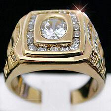 Ring + Lifetime Guarantee | Bling Mens 1.97ct Simulated Diamond 14k Gold Layered