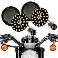 Black Out Amber LED Turn Signal Running Light Insert Harley Bullet 1157 Smoke