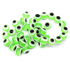 25 x Green Evil Eye Resin Spacer Craft Jewellery Beads - 10mm - L10120