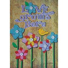 "Love Grows Here 12.5"" X 18"" Garden Flag 27-2231-137 Flip It! Rain Or Shine Spr"