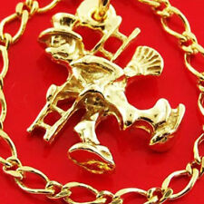 CHARM BRACELET REAL 14 KT YELLOW VERMEIL GOLD TRADITIONAL SOLID FINE LINK DESIGN