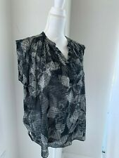 Rebecca Taylor Black & Ivory Silk Print Blouse Top SZ 12 L