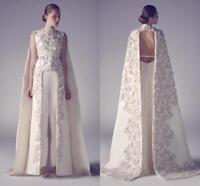 Arabic Evening Dresses Formal Party High Neck Long Proms Gowns Applique Sheath