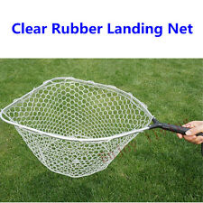 "(Frame19""x15"") Clear Rubber Mesh Kayak Fishing Landing Net w/ Removable Handle"