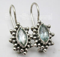 """Handcrafted Jewelry! 925 Sterling Silver BLUE TOPAZ Marquise Shape Earrings 0.9"""""""