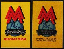 2 alte reklamemarken leipziger messe - zweimal im jahre, leipzig /0510