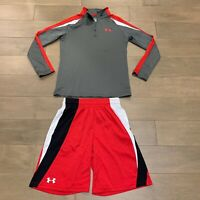Under Armour Cold Gear Youth Boys Zip Pullover Shirt And Shorts Set - Size YXL
