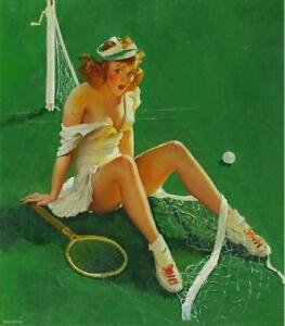 "RETRO PINUP QUALITY Canvas Art Print Poster Gil Elvgren Tennis Fail 12x8"""
