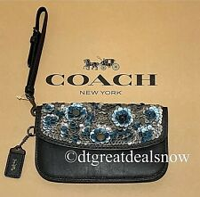 NWT Coach Clutch With Leather Blue Multi Sequin 31833