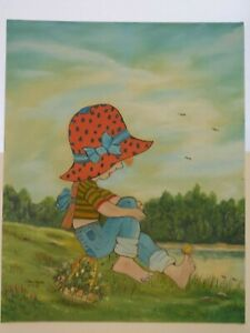 JOHN WAYNE OUTSIDER ARTWORK GIRL IN BONNET WITH BUTTERFLY ON TOE OIL CARTOON VTG