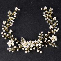 Handmade Pearls Flower Bridal Hair Ribbon Gauze Dress Bride Headband Headdress