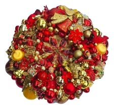 Vintage Christmas ornament wreath 20 Inch 25158 Red Gold Germany Glass