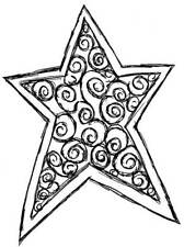 RS00025937 A8 /'Pentagram Star/' Unmounted Rubber Stamp