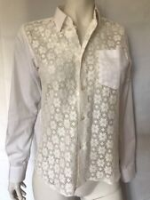 Commes Des Garcons SHIRT White Cotton With Embellished Front Long Sleeves Sz S