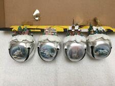 Four Thomas Kinkade Memories Christmas Bell Ornaments