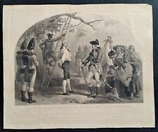 Antique NATHAN HALE LAST WORDS, Steel Engraving AMERICAN REVOLUTION 1858, Howe