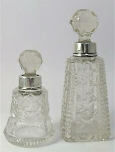 2 Antique Silver Collared Cut Glass Perfume / Scent Bottles – Hallmarked 1921/23