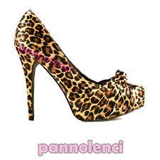 Decolletè scarpe donna 38 LEOPARDO Pinup tacchi PLS-05