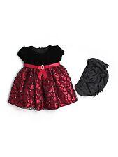 Baby Girl Cinderella Brand Black Velour Red Holiday Portrait Dress Size 18 Month