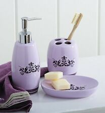 Set Of Three Purple Bath Accessory Set- Soap Dish, Pump, Toothbrush