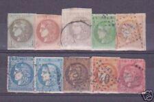 """FRANCE 1870-71 Y&T 39/49 """"BORDEAUX 10 VALEURS""""OBLITERES"""