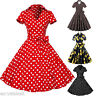 Vintage Women 1950's Rockabilly Party Swing Pinup Retro Short Sleeve Dress PLUS