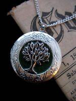 Tree of Life LOCKET Necklace Pendant Gothic Green Leaf Silver Vintage Fantasy