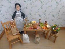 DOLLS HOUSE FURNITURE~ PINE KITCHEN PREP TABLE + MAID & 35 + ACCESSORIES~FOOD