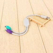 White New Converter Cable Adapter For Keyboard Mouse USB Male To PS2 Female