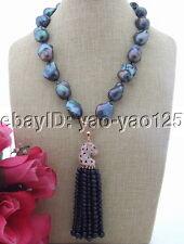 "S031605 21"" 20MM Black Keshi Pearl Necklace Cz Pearl Pendant"