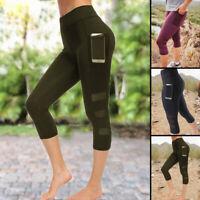 Women Capri Yoga Leggings With Pocket High Waist Sport Pants Gym Workout Trouser