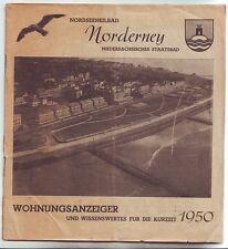 Inselprospekt Nordseebad Norderney 1950  Wohnungsanzeiger Ostfriesland