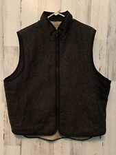 LL BEAN Mens L Charcoal Gray Wool Blend Ivory Fleece Lined Pockets Full Zip Vest