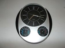 Wall clock and weather gauges modern styling quartz movement Aa powered preowned