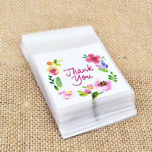 100 Gift Bags Self Adhesive Thank You Cookie Candy Seal Floral Plastic Party Bag