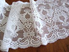 "Scalloped Lace Floral Trim Bridal/ Lingerie White Poly/ Nylon BTHY 8 1/2""w NOS"