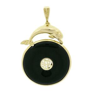 Vintage 14k Gold Diving Dolphin Bezel Black Jade Pierced Chinese Symbol Pendant