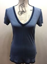 True Religion Women's Distressed T-Shirt Short Sleeve Blue Small Cotton V-Neck