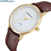 Men Casual Ultra-thin Concise Dial Business Quartz Watch Leather Band Wristwatch