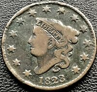 1823 Large Cent Coronet Head One Cent 1c RARE Key Date Better Grade #11635