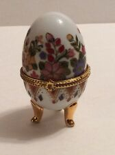 Collectible Porcelain Egg Gold Trim Around the Opening Area Trinket Container