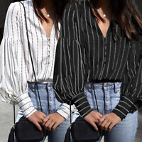 Women Casual Long Sleeve Vintage Top Tee Shirt Loose Plus Size Button Up Blouse