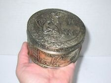 Vintage Round Silver Color Powder Box JAPAN Nude Ladies in Garden, Metal or Tin
