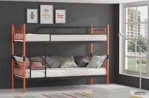 Metallbett DARVIN Orange-Schwarz Hochbett in zwei Einzelbetten teilbar