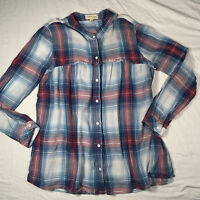 Cloth & Stone sz Med Plaid Swing Tunic Anthropologie Airy Button Up Blue Red