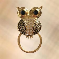 NEW Gold Owl & Crystal Eye Glasses Sunglasses Hanger Brooch Pin Holder
