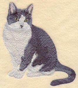 Embroidered Sweatshirt - Black & White Tuxedo Cat C7913 Sizes S - XXL