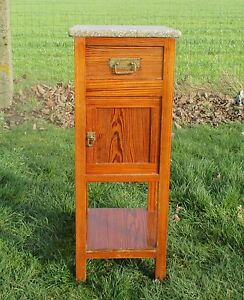 Vintage Pine wood Marble End Table Drawer Nightstand