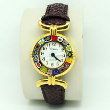 Murano Glass Quartz Watch from Venice with Millefiori and Brown Strap