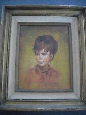 Quadro dipinto olio su tavoletta ritratto di fanciulla M. KEYLOR vintage anni 60